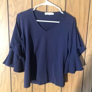 Anne Fontaine - Blue Ruffled Sleeve Blouse